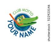 Vector Logo Crocodile Water...