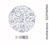 fitness and exercise circle... | Shutterstock .eps vector #522936964