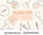 cosmetics set and makeup artist ... | Shutterstock .eps vector #522940543