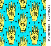 pattern fashion hands hamsa... | Shutterstock .eps vector #522948253