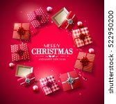 christmas red gift boxes and... | Shutterstock .eps vector #522950200