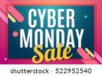 Cyber monday Big sale banner color design. Vector illustration template - stock vector