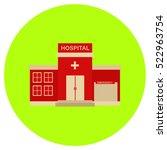 hospital icon in trendy flat...