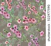flowers peach watercolor... | Shutterstock . vector #522977590