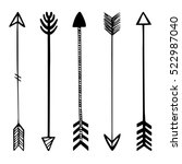 set of black hand drawn arrows. ... | Shutterstock .eps vector #522987040