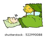 tired lazy man sleep in the bed ... | Shutterstock .eps vector #522990088