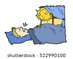 tired lazy man sleep in the bed ... | Shutterstock .eps vector #522990100