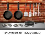 kitchen scene with pots and... | Shutterstock .eps vector #522998830