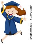 girl in blue graduation ... | Shutterstock .eps vector #522998884