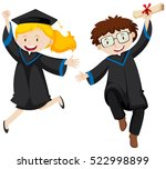 two graduated students jumping...   Shutterstock .eps vector #522998899