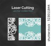 laser cut template. floral card ... | Shutterstock .eps vector #523011844