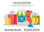 online shopping banner concept... | Shutterstock .eps vector #523012324