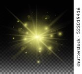 golden glow light effect on the ... | Shutterstock .eps vector #523019416