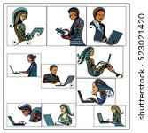 woman and man with laptop ... | Shutterstock .eps vector #523021420