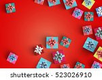 lot of gift box on color... | Shutterstock . vector #523026910