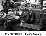 craftsman using the obsolete... | Shutterstock . vector #523031218