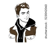 handsome young stylish man in... | Shutterstock .eps vector #523042060