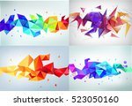 vector set of faceted 3d... | Shutterstock .eps vector #523050160