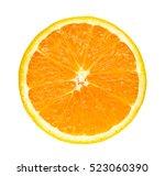 half slice fresh orange... | Shutterstock . vector #523060390
