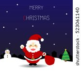 christmas card with santa claus ...   Shutterstock .eps vector #523061140