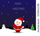 christmas card with santa claus ... | Shutterstock .eps vector #523061158