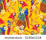 summer jungle pattern with... | Shutterstock .eps vector #523061218