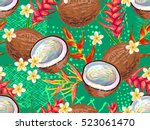 summer jungle pattern with... | Shutterstock .eps vector #523061470
