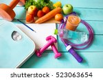 healthy eating  workout and... | Shutterstock . vector #523063654