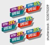 super sale  paper banner  sale... | Shutterstock .eps vector #523070209