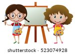 two girls painting on canvas... | Shutterstock .eps vector #523074928