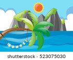 ocean scene with tree and sun... | Shutterstock .eps vector #523075030