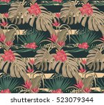 tropical print. exotic leaves... | Shutterstock .eps vector #523079344