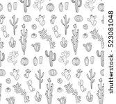 cactus vector pattern | Shutterstock .eps vector #523081048