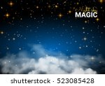 night sky magic cloud. holiday... | Shutterstock .eps vector #523085428