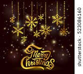 christmas greeting card. merry... | Shutterstock .eps vector #523086160
