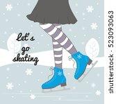 vector background with feet in... | Shutterstock .eps vector #523093063