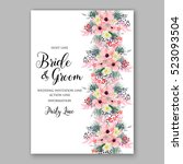 wedding invitation floral... | Shutterstock .eps vector #523093504