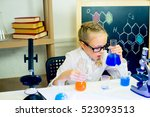 young girl making science... | Shutterstock . vector #523093513