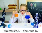young girl making science... | Shutterstock . vector #523093516