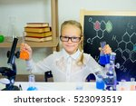 young girl making science... | Shutterstock . vector #523093519