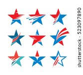 abstract stars   vector set of... | Shutterstock .eps vector #523097890