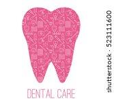dental care symbols in the... | Shutterstock .eps vector #523111600