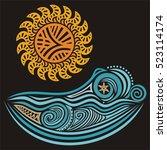 sea and sun. vector... | Shutterstock .eps vector #523114174