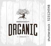 olive tree vintage logo concept ... | Shutterstock .eps vector #523124548