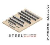 many shape section steel... | Shutterstock .eps vector #523126729