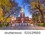independence hall in... | Shutterstock . vector #523129003