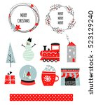 merry christmas happy new year... | Shutterstock .eps vector #523129240