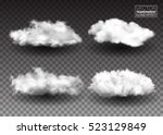 set of fluffy white clouds.... | Shutterstock .eps vector #523129849