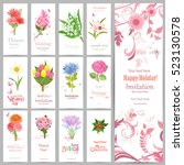 romantic collection of banners... | Shutterstock .eps vector #523130578
