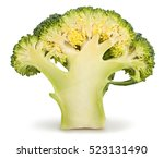 halved broccoli isolated | Shutterstock . vector #523131490